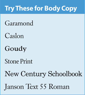 book interior : Fonts for Body Copy