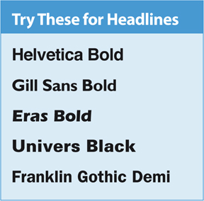 book interior : Fonts for Headlines