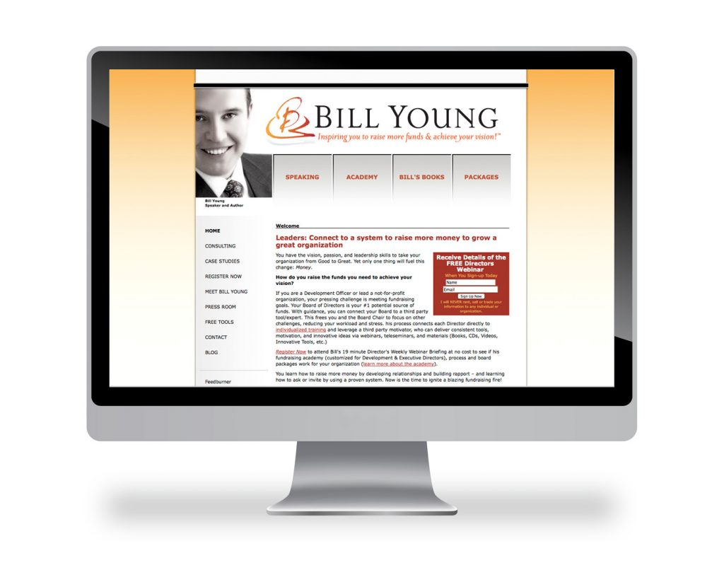 website and book cover brand for Bill Young