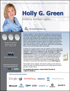 Holly Green speaker one-sheet design front