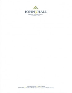 John J Hall Letterhead design