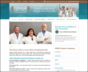 Lifestyle Hearing Solutions website design interior page 2