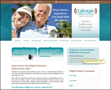 Lifestyle Hearing Solutions brand and website design home page