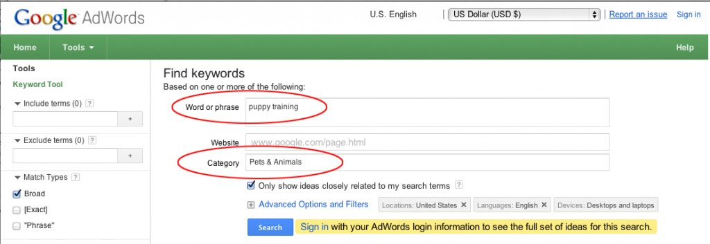 Google AdWords Keyword Planner screen shot
