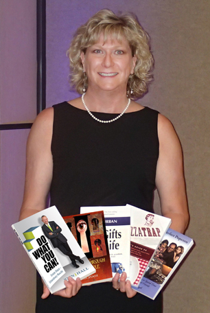 Karen Saunders with 5 award-winning books
